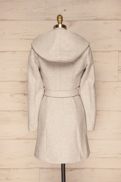 Arya Grey Wool Hooded Soia&Kyo Trench Coat back view | La Petite Garçonne