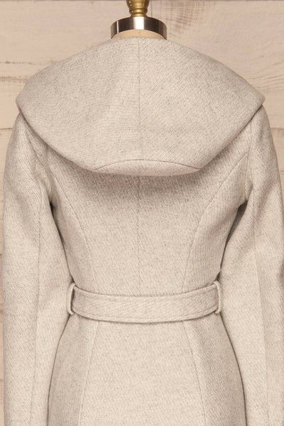 Arya Grey Wool Hooded Soia&Kyo Trench Coat back close up | La Petite Garçonne