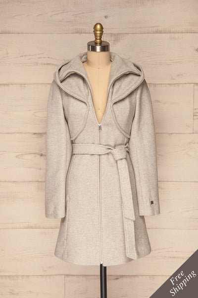Arya Grey Wool Hooded Soia&Kyo Trench Coat front view | La Petite Garçonne