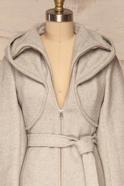 Arya Grey Wool Hooded Soia&Kyo Trench Coat front close up | La Petite Garçonne