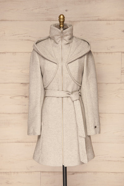 Arya Grey Wool Hooded Soia&Kyo Trench Coat front view zip up | La Petite Garçonne