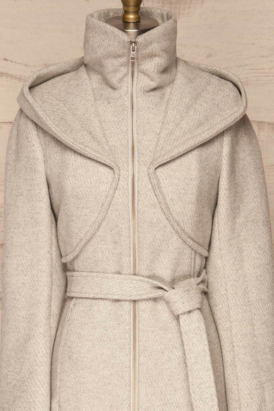 Arya Grey Wool Hooded Soia&Kyo Trench Coat front view close up zip up | La Petite Garçonne