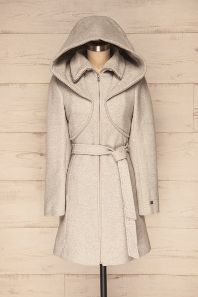 Arya Grey Wool Hooded Soia&Kyo Trench Coat front view hood up | La Petite Garçonne