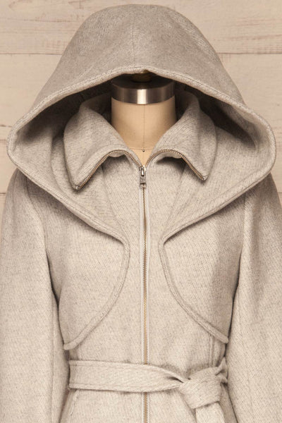 Arya Grey Wool Hooded Soia&Kyo Trench Coat front close up hood up | La Petite Garçonne