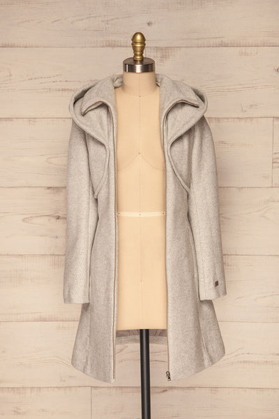 Arya Grey Wool Hooded Soia&Kyo Trench Coat front view open | La Petite Garçonne
