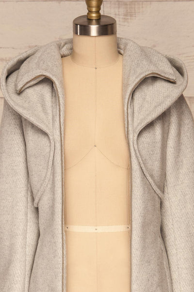 Arya Grey Wool Hooded Soia&Kyo Trench Coat front close up open | La Petite Garçonne