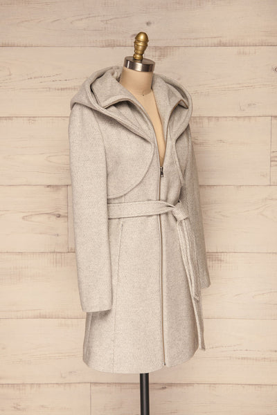 Arya Grey Wool Hooded Soia&Kyo Trench Coat side view | La Petite Garçonne