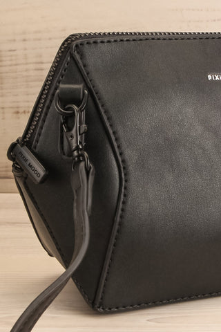 Ashton Black Faux-Leather Pixie Mood Handbag side close-up | La Petite Garçonne