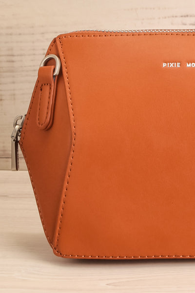 Ashton Cognac Faux-Leather Pixie Mood Handbag close-up | La Petite Garçonne