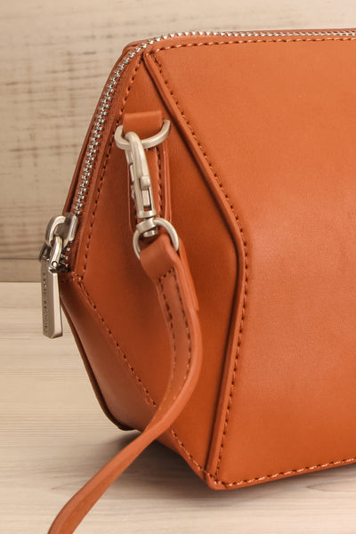 Ashton Cognac Faux-Leather Pixie Mood Handbag side close-up | La Petite Garçonne