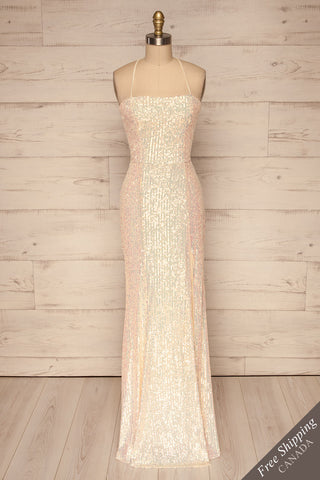 Askim Diamond White Sequin Mermaid Dress front view | La Petite Garçonne