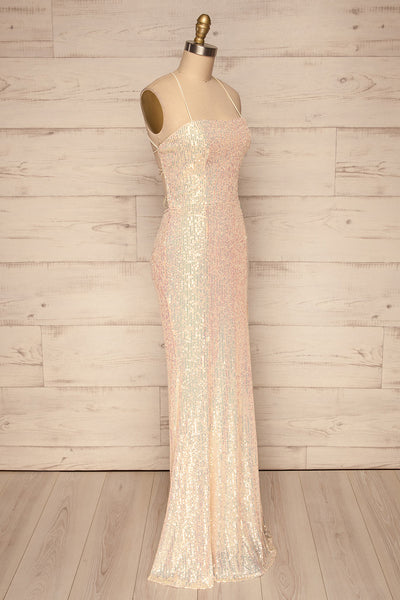 Askim Diamond White Sequin Mermaid Dress side view | La Petite Garçonne