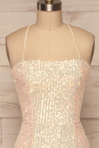 Askim Diamond White Sequin Mermaid Dress front close up | La Petite Garçonne