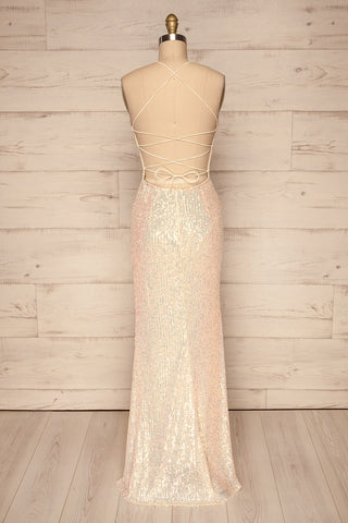 Askim Diamond White Sequin Mermaid Dress back view | La Petite Garçonne