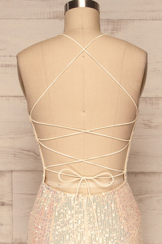 Askim Diamond White Sequin Mermaid Dress back close up | La Petite Garçonne