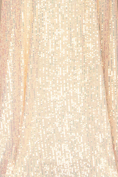 Askim Diamond White Sequin Mermaid Dress fabric close up | La Petite Garçonne
