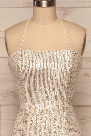 Askim Opal Cream Sequin Mermaid Dress front view | La Petite Garçonne