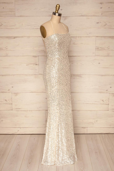 Askim Opal Cream Sequin Mermaid Dress side view | La Petite Garçonne