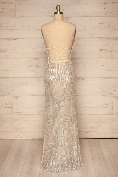 Askim Opal Cream Sequin Mermaid Dress back view | La Petite Garçonne