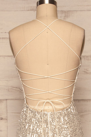 Askim Opal Cream Sequin Mermaid Dress back close up | La Petite Garçonne