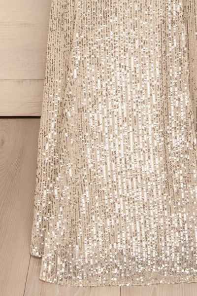 Askim Opal Cream Sequin Mermaid Dress skirt close up | La Petite Garçonne