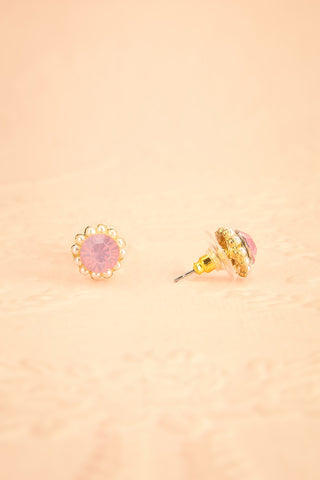 Aster Rosa - Pink crystals and pearls studs earrings