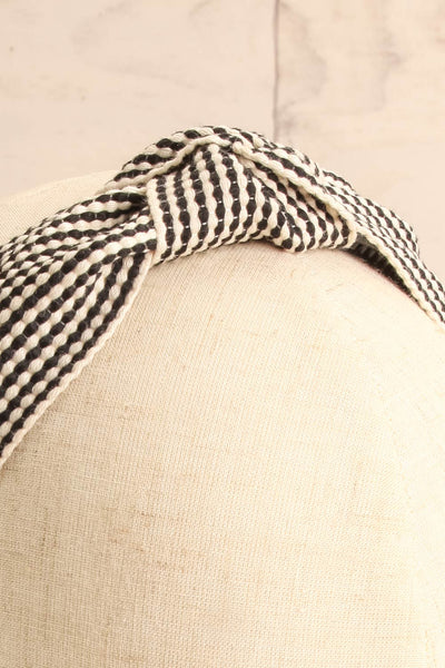 Atessa Black & Ivory Striped Headband with Knot on mannequin head close-up | La Petite Garçonne