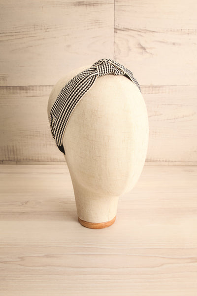 Atessa Black & Ivory Striped Headband with Knot on mannequin head | La Petite Garçonne