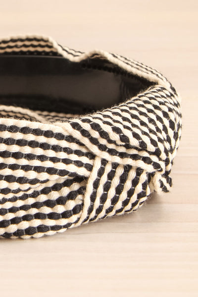 Atessa Black & Ivory Striped Headband with Knot close-up | La Petite Garçonne