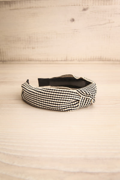 Atessa Black & Ivory Striped Headband with Knot | La Petite Garçonne