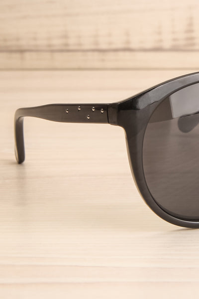 Athlone Black Wayfarer Sunglasses side close-up | La Petite Garçonne
