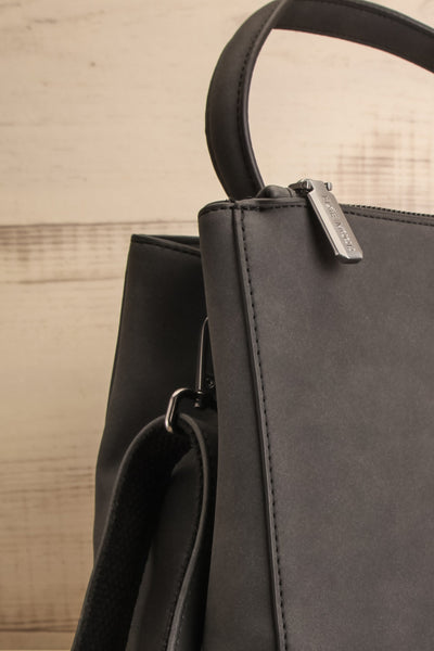Audrina Black Faux-Leather Pixie Mood Handbag side close-up | La Petite Garçonne