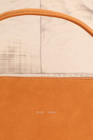 Audrina Cognac Faux-Leather Pixie Mood Handbag logo close-up | La Petite Garçonne