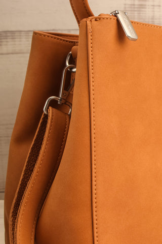 Audrina Cognac Faux-Leather Pixie Mood Handbag side close-up | La Petite Garçonne