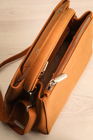 Audrina Cognac Faux-Leather Pixie Mood Handbag inside view | La Petite Garçonne