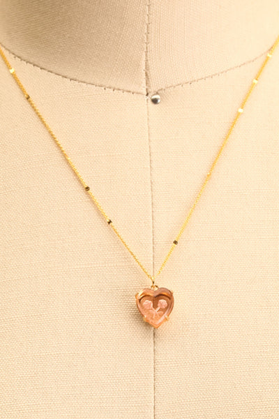 Autumn Aris Gold & Pink Pendant Necklace | Boutique 1861 close-up