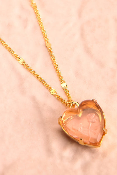 Autumn Aris Gold & Pink Pendant Necklace | Boutique 1861 flat close-up
