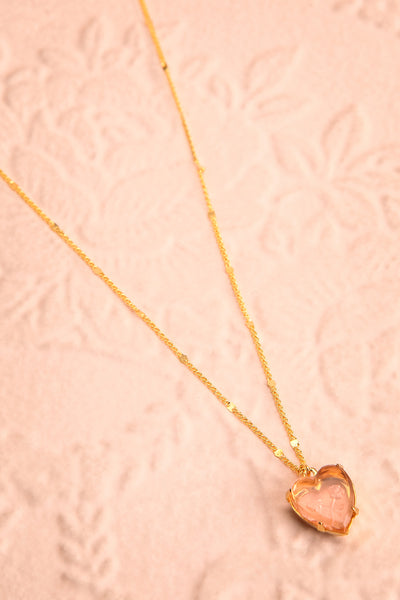 Autumn Aris Gold & Pink Pendant Necklace | Boutique 1861 flat view