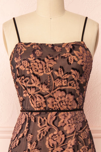 Avanti Black & Beige Floral Lace Dress | Boutique 1861 front close-up