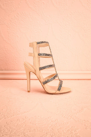 Avarua - Beige and Grey Heeled Sandals - Boutique 1861 1