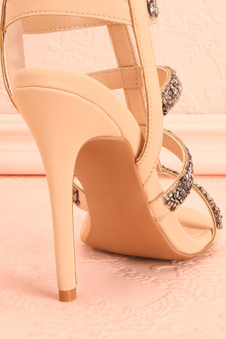 Avarua - Beige and Grey Heeled Sandals - Boutique 1861 8