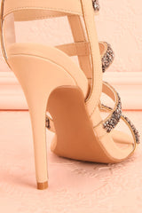 Avarua - Beige and grey beaded heeled sandals