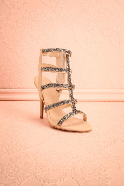 Avarua - Beige and Grey Heeled Sandals - Boutique 1861 3