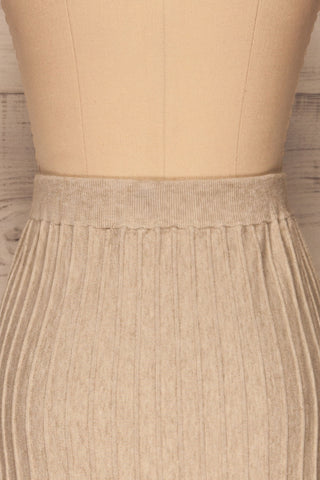 Aveiro Beige Knit Skirt | Jupe Beige | La Petite Garçonne back close-up