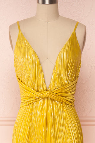 Avezzano Yellow Metallic A-Line Gown with High Slits  | FRONT CLOSE UP | Boutique 1861