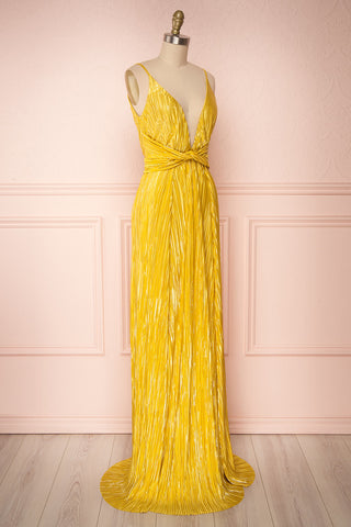Avezzano Yellow Metallic A-Line Gown with High Slits  | SIDE VIEW | Boutique 1861