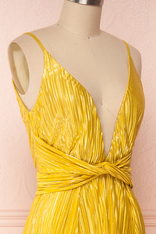 Avezzano Yellow Metallic A-Line Gown with High Slits | SIDE CLOSE UP | Boutique 1861