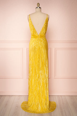 Avezzano Yellow Metallic A-Line Gown with High Slits | BACK VIEW | Boutique 1861