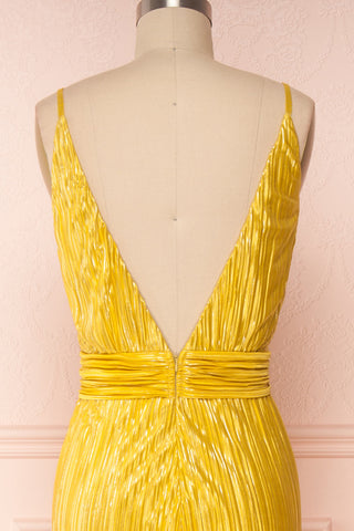 Avezzano Yellow Metallic A-Line Gown with High Slits | BACK CLOSE UP | Boutique 1861