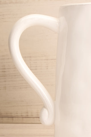 Avigliano White Ceramic Pitcher handle close-up | La Petite Garçonne Chpt. 2